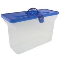 Caixa Maleta Arquivo Dello Cristal Empilhavel C/ Tampa Azul