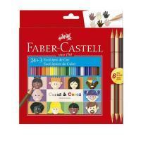 Lapis Cor Faber Castell 24 Cores + 6tons Pele 120124cc