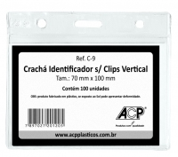 Cracha Identificador Acp C9 Cristal Plastico Vertical